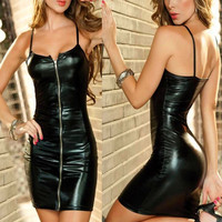 New 8 Colors Sexy Lingerie Women Erotic Dress Faux Leather Plus Size Female Zip Clubwear Party
