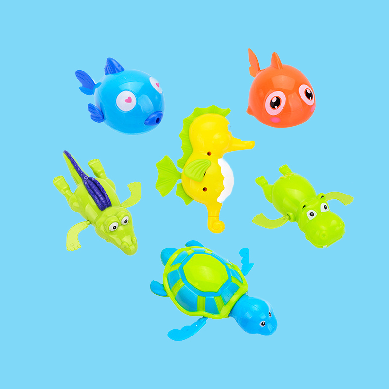 5 PCS Wind Up Chain Baby Toys Lovely Turtle Fish Shark Hippo Clockwork Bath Toys Animal Swimming Kids Toy Bathtime Classic Toy
