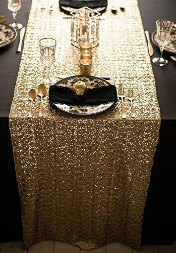ShinyBeauty GOLD Sequin Table Runner 35x275cm Sequin TableCloth Red Sequin  Table Cloths For The Valentines Day