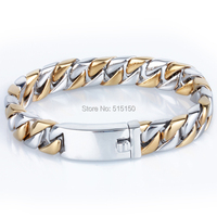 12MM Width 8 66 Long High Quality Silver Gold Curb Chain 316L Stainless Steel Amazing Mens