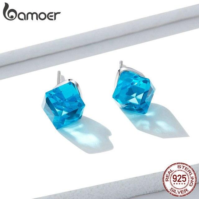 bamoer Blue Cube Stud Earrings for Women 925 Sterling Silver Austrian Crystal Rhinestone Earring Wedding Korean Jewelry BSE208