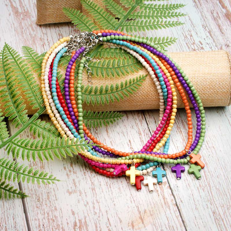 Maan Meisje Exclusieve 4Mm Natuursteen Cross Hanger Kettingen Voor Vrouwen Etnische Yoga Kralen Goedkope Boho Choker Collares Dropship