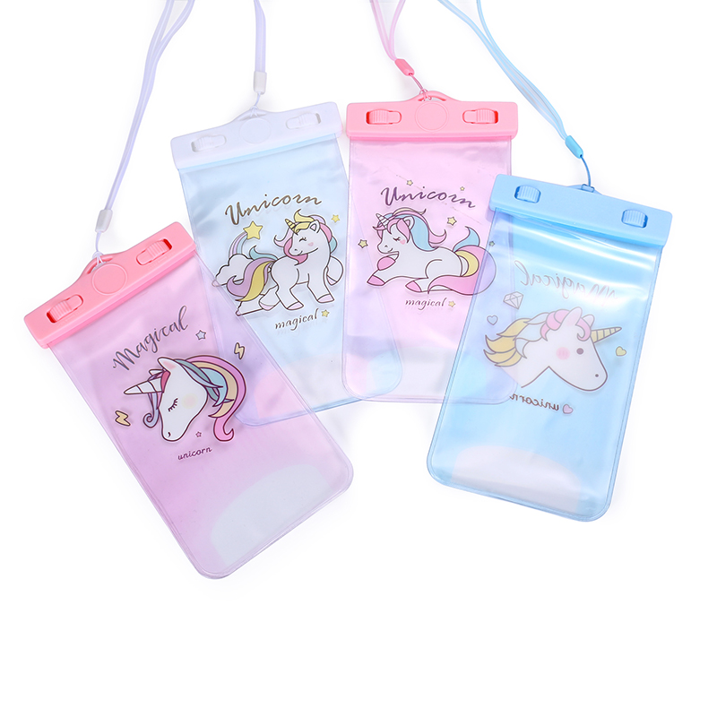 New summer transprent waterproof phone bag unicorn cartoon neck strap card holder pvc clear samsung iphone pouch ipx 8 waterproof bag pouch w neck strap for iphone 4 4s blue black