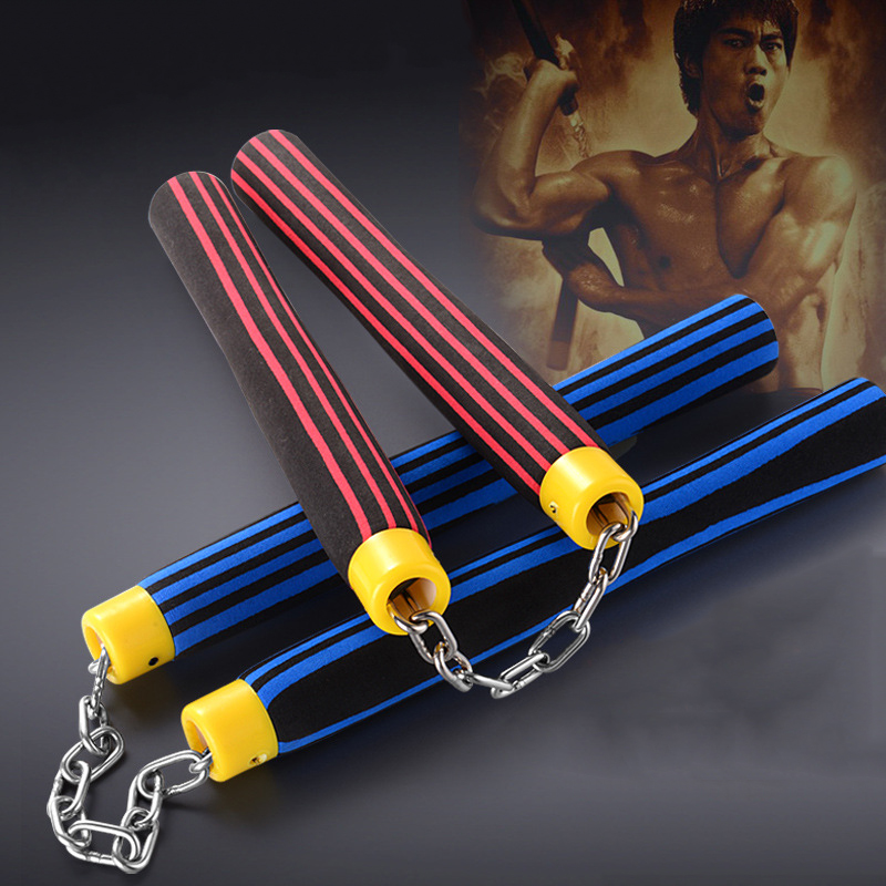 Bruce Lee Nunchakus Martial Arts Fitness Workout Kung Fu Stainless Steel EVA Sponge Nunchakus Wushu Exercise Equipment For Adult