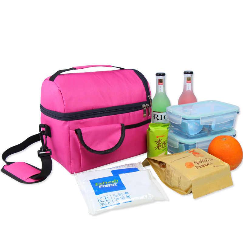 Vrouwen Kids Thermische Lunch Tas Doos Dubbele Laag Schouder Dikkere geïsoleerde Koeler Opslag Pack weekend Picknick Voedsel Containers Nieuwe