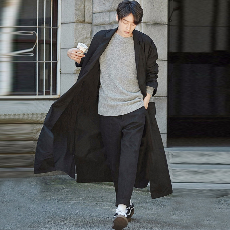 Men's Black Cotton Full Length   Trench   Coat Casual Loose Overcoat Coat Size S-3XL Male