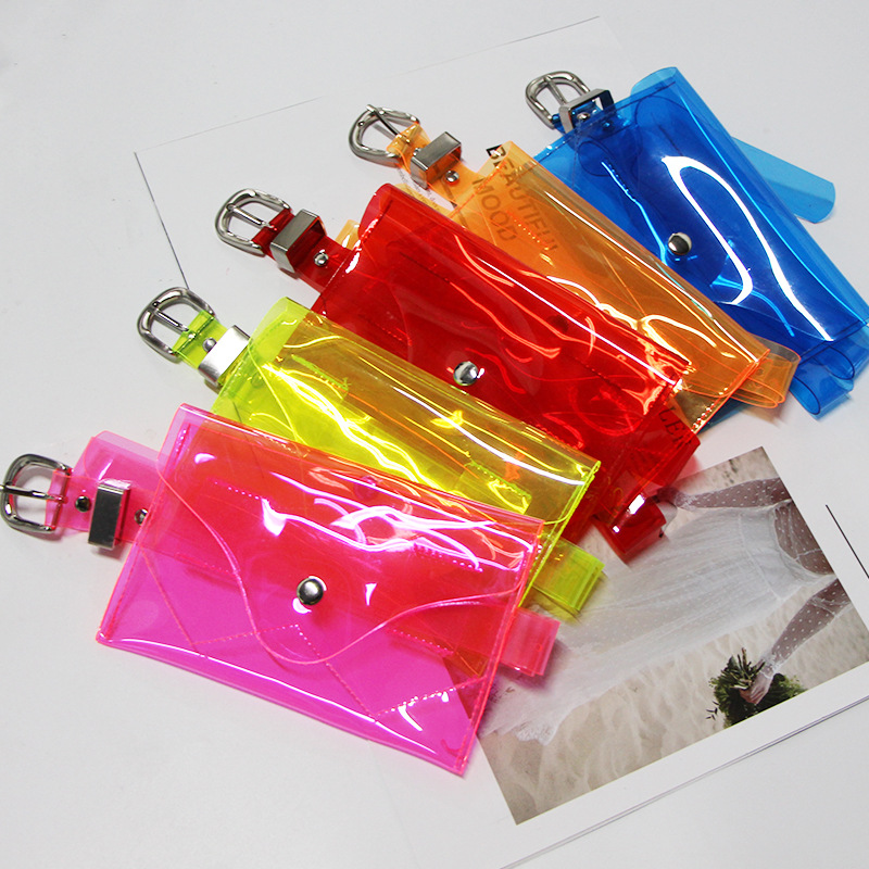 2019 Fashion Pink Fanny Pack  Transparent Neon Bag Kids Waist Bag Women Summer Pvc Mobile Phone Bum Belt Bag  Kids Fanny Pack