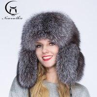 2018 100% с натуральным лисьим мехом обувь для мужчин и женщин зимняя шапка, теплая и удобная, полный серебра меха лисы тиран, колпачок уха