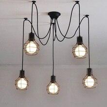Luces colgantes de jaula de hierro Art Decó, lámpara colgante de araña creativa DIY Droplight Art, E27, 110V 220V ~ 240V