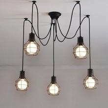 Art Deco żelaza wisiorek klatka światła kreatywny DIY Droplight Art pająk lampa wisząca, E27, 110V 220V ~ 240V