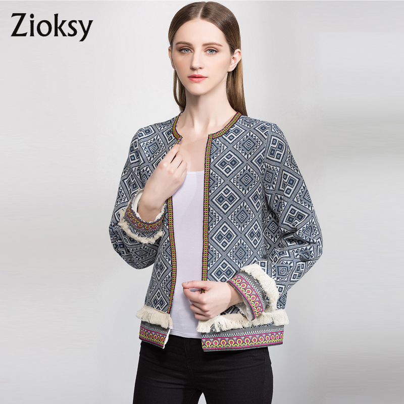 Zioksy 2017 spring large size fashion women jacket manual tassel long sleeve casual jacket coat open
