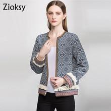 Manual Zioksy 2017 primavera chaqueta de las mujeres de gran tamaño de la manera borla de manga larga abrir stitch outwear chaqueta de la capa ocasional