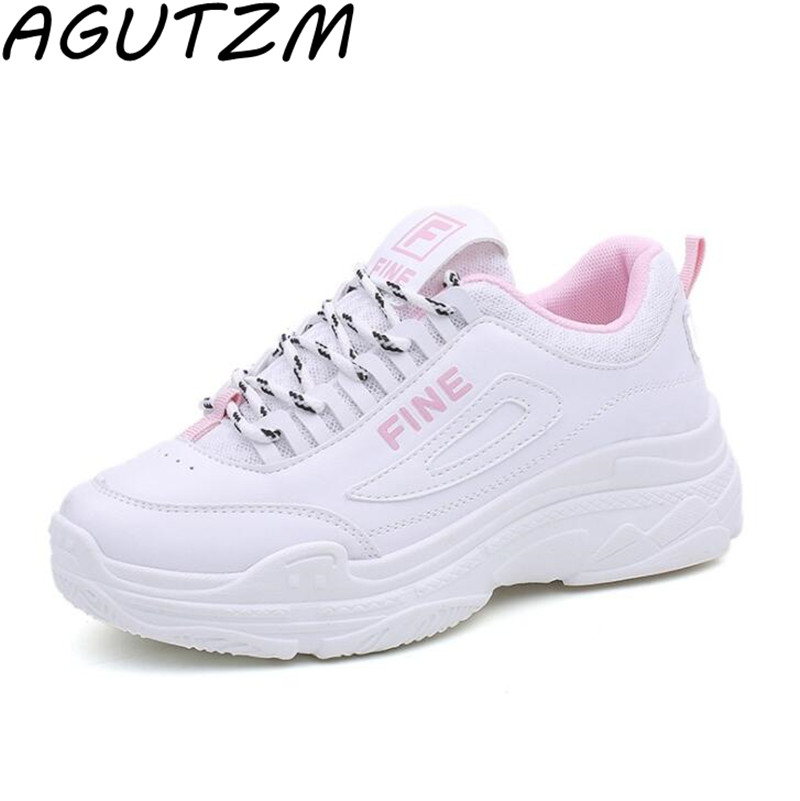 AGUTZM Women Shoes Fashion 2018 Summer White Sneakers Ladies Ulzzang Casual Shoes Basket Femme Student Shoes For Woman