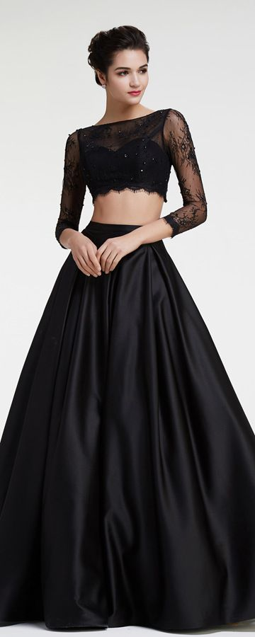 Cecelle 2016 Black Long Sleeves 2 Two Pieces Lace Satin A line Prom ...
