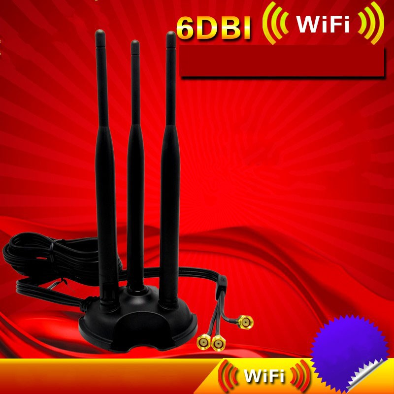 2.4G 5.8G 6dBi Omni WiFi WLAN Antenna Dual Band RP-SMA Extension Cable Length 2M