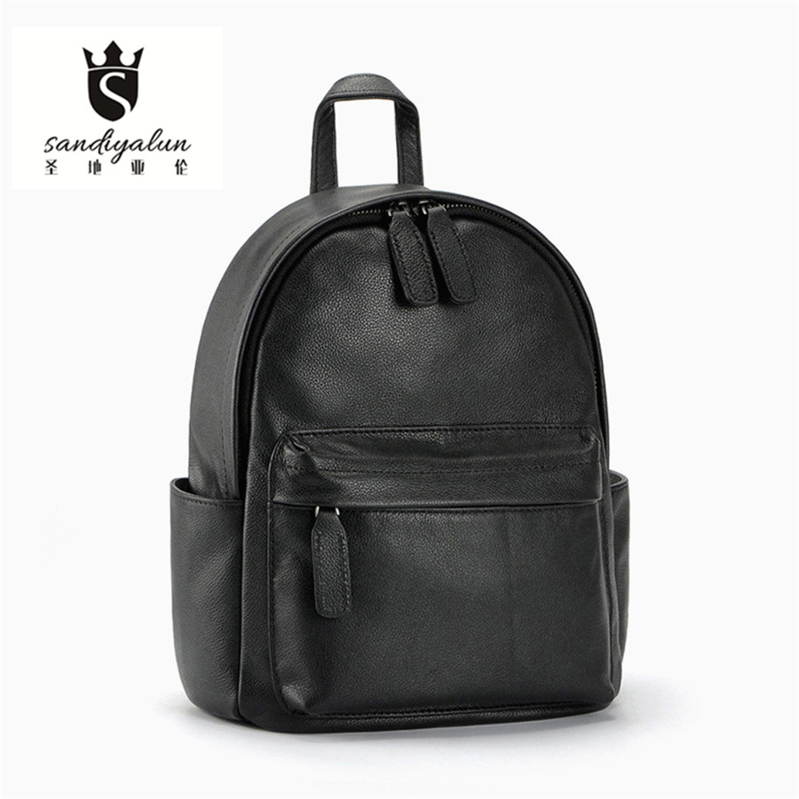 New Style Genuine Leather Women Backpack Zipper School Bags Famous Designer Brand Teenagers Girls Backpack Casual Travel Bag 2017 new arrive famous brand designer women bling bling backpack fashion sequins backpack preppy style girl s school bags xa294b