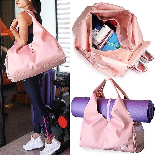 Yoga Mat Bags Gym Tas For fitness Sac De Sport Dry Wet Sports Bag Shoulder Training gymtas bolsa deporte Handbags Pink XA616WA