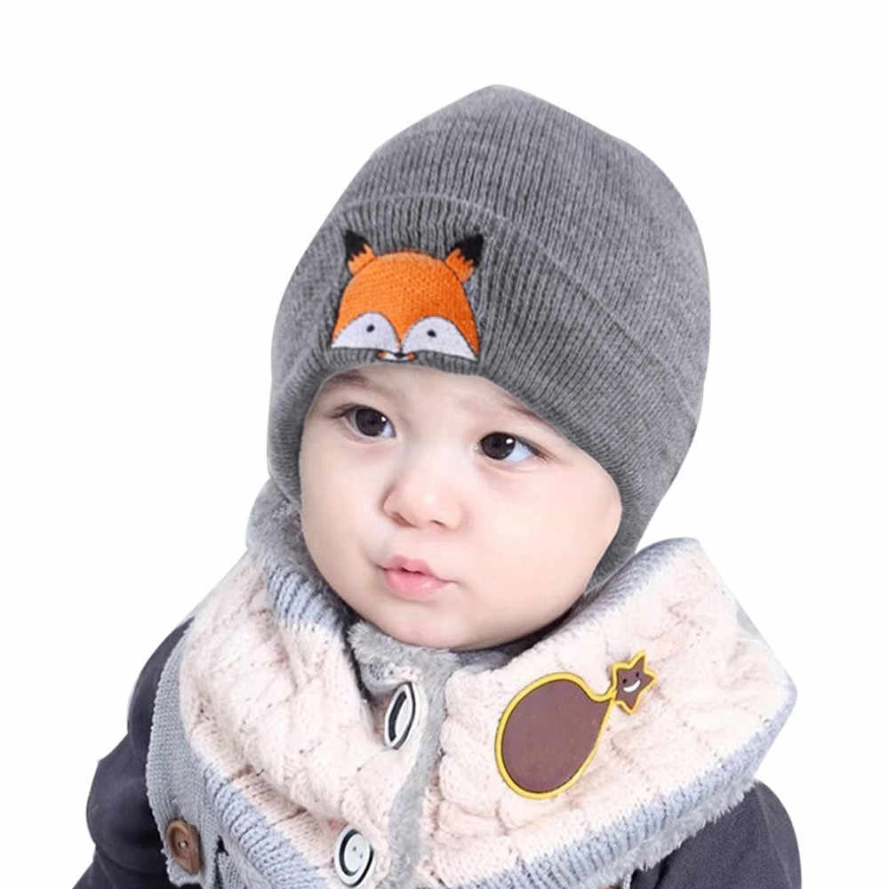 d28af63eed4 MUQGEW Cotton Hat Baby Children Cap Fox Warm Winter Hats Knitted Wool  Hemming Bonnet Boys Hats