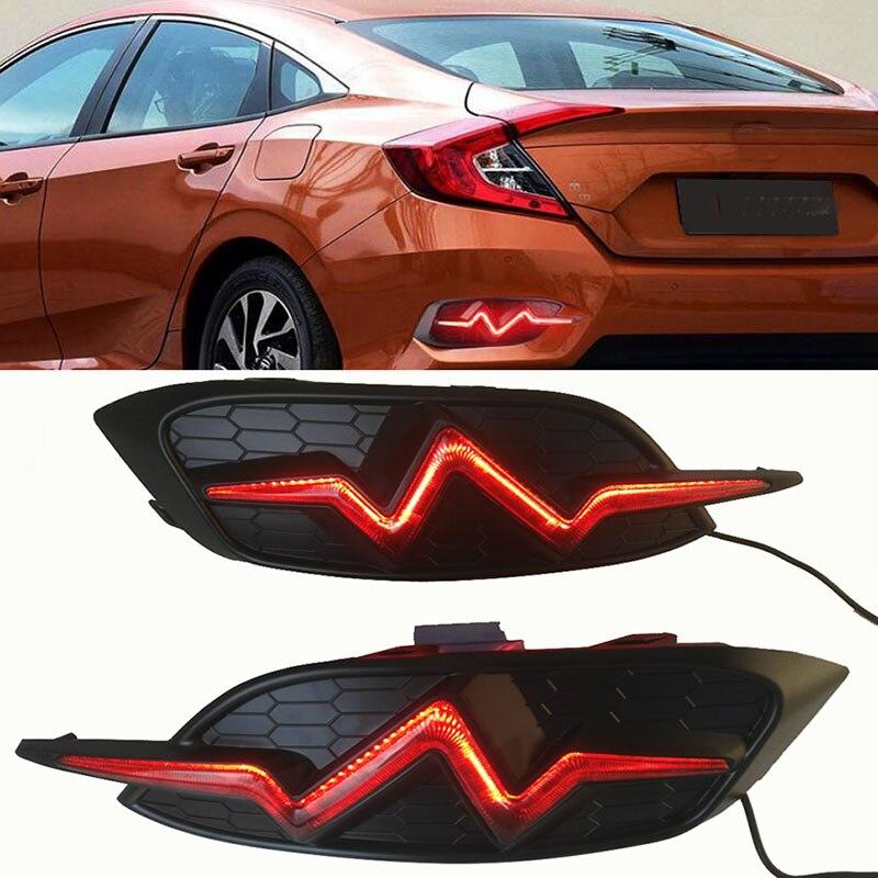 For Honda Civic 2016 2017 LED DRL Smoked black Flashing Rear Bumper tail light fog lamp Brake Lights Signal lamp DRL reflector цена