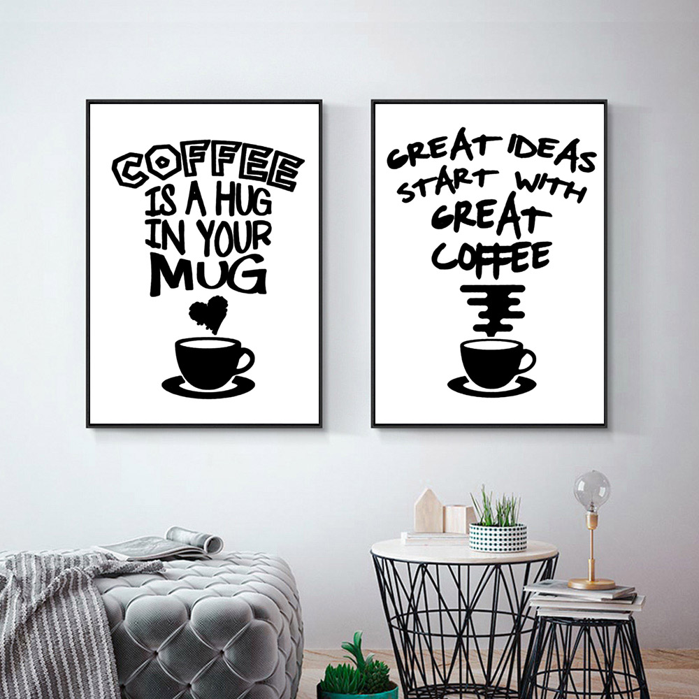 Fasion Poster Black And White Posters And Prints Quotes Wall Canvas Coffee Painting Quotes Pictures Quote Poster Art Unframed-in Painting & Calligraphy from Home & Garden