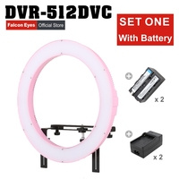 FALCONEYES LED Ring Light Studio Camera Lamp 31W Continuous Lighting For Youtube Makeup Photography W/Battery DVR 512DVC Set One