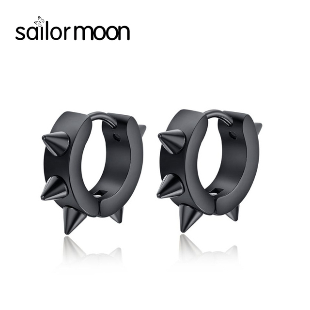 0e26294e6ea7 Corea moda negro pendientes para hombres Pequeños aretes de acero  inoxidable de la joyería Pendientes de