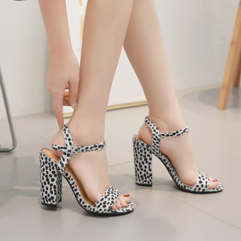 Women Shoes Pumps Summer Sandals Leopard-Print Heels Office Horsehair Chassure Femme