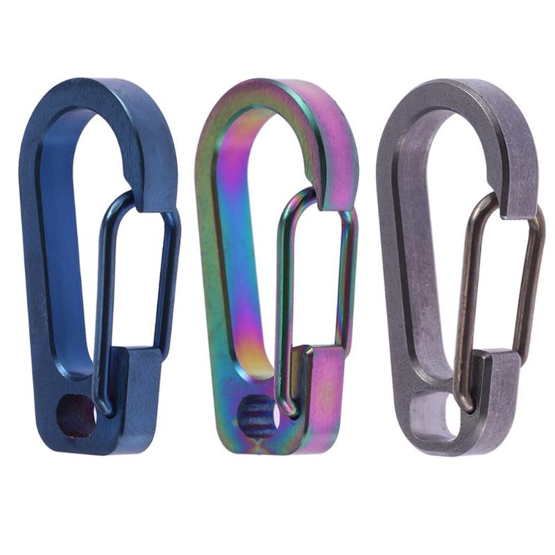 TC4 Carabiner Keychain Buckle EDC Titanium Ti Alloy Waist Belt Clip Anti-lost Keyring Holder Snap Hook Hanger Outdoor Tool