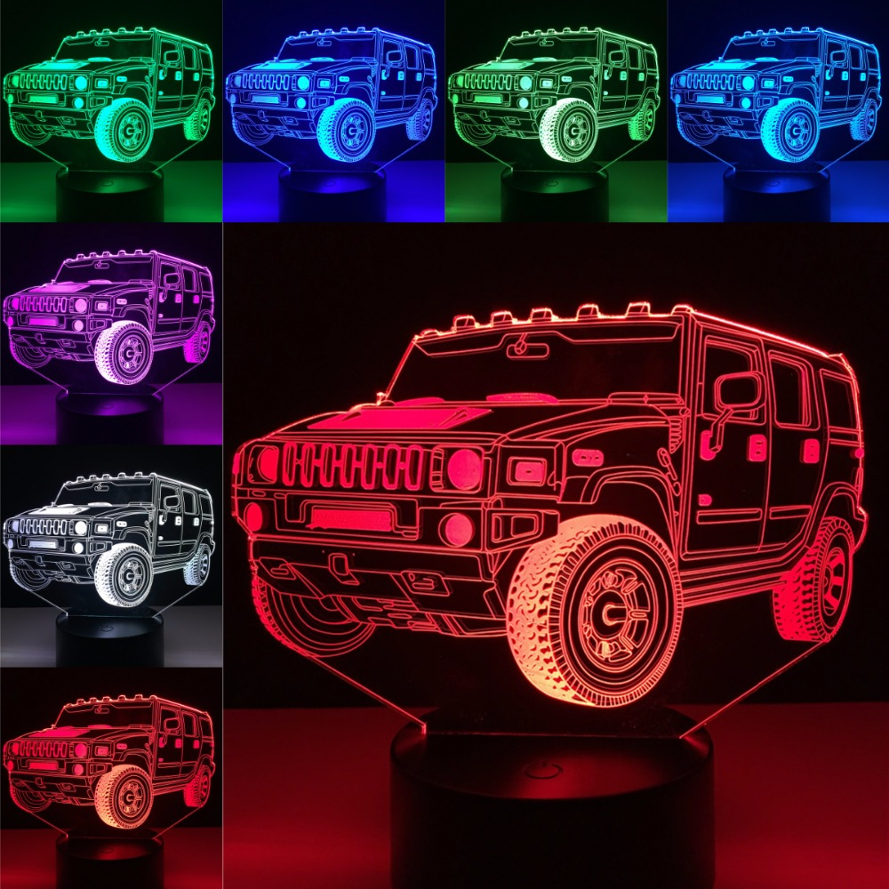 Fashion Cool Car Jeep Shaped 3D Lighting Cable LED USB Mood Children's Bedroom Night Light Kid's Party Multicolor Table Lamp