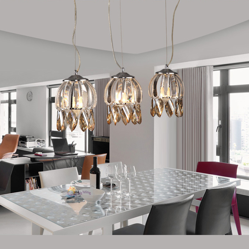 Modern champagne crystal Pendant Lights E14 *3 Kitchen lights Bedroom lamp Dining Room Restaurant sconce Led lights & lighting a1 master bedroom living room lamp crystal pendant lights dining room lamp european style dual use fashion pendant lamps