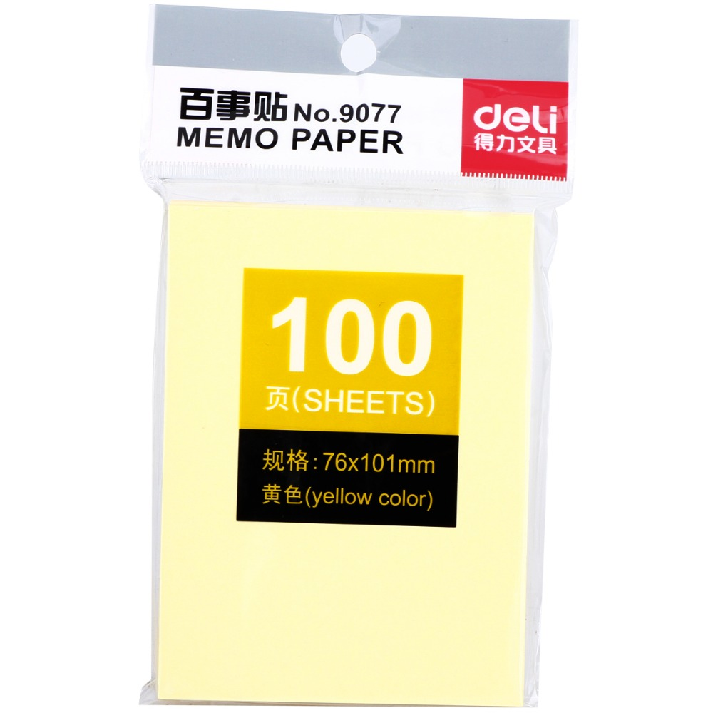 10 Packs x 100 Sheets Yellow Color Memo Pads Paper Self-Adhesive Notebook Post It Office And Business Supplies Deli 9077