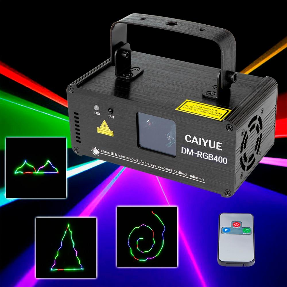 Professionell laser RGB 400mw scenbelysningsprojektor DMX512 röd grön blå med fjärrkontroll DJ bar party juldagsljus