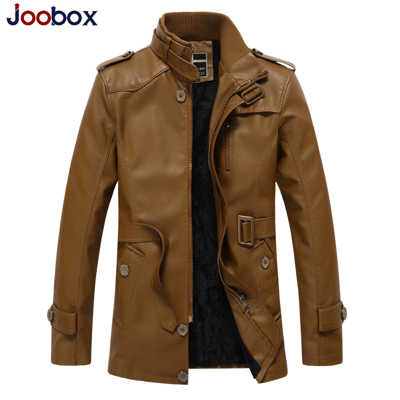 JOOBOX 2018 New Winter Leather Jacket Men Waterproof Fleece Warm male leather Jacket High Quality Coats Motorcycles Jackets 2016 high quality alpha n 3b mens shark softshell jacket tad outdoor male warm waterproof man fleece jackets outerwear