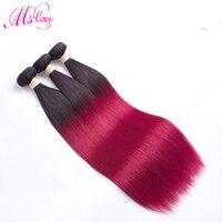 Red Human Hair Bundles Straight Hair Extension Ombre Burgundy 99J Cheveux Humain 1 2 3 4 Brazilian Hair Weave Bundles Non Remy