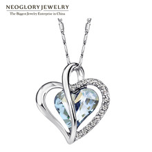 Neoglory Austria Crystal Rhinestone Love Heart Pendant Necklaces for Women Designer Fashion Jewelry 2018 JS4 He1 He-b