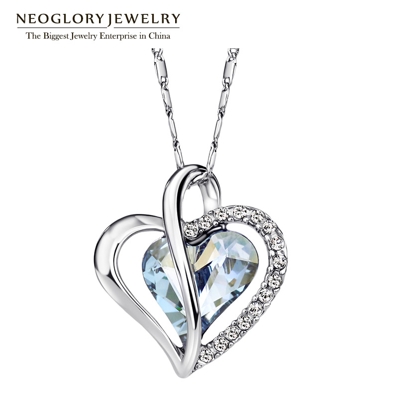 Neoglory Austri Crystal Rhinestone Love Heart Pendant necklaces for Women Designer Fashion bizhuteri 2018 JS4 He1 He-b