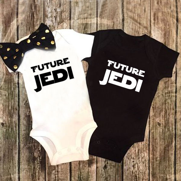 DERMSPE Summer New Style Baby Girls Boys Rompers Short Sleeve Newborn Baby Clothes Print Future Jedi Jumpsuit Black White