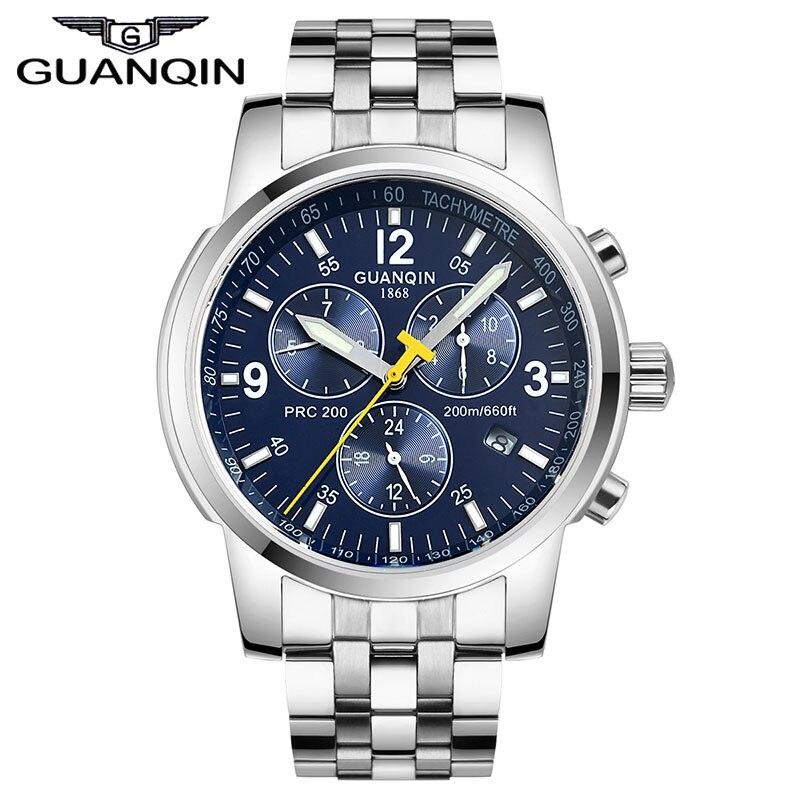 ФОТО GUANQIN GQ50009 Original Luxury Clock men sport watches waterproof sapphire auto mechanical hours Men full steel watch Blue