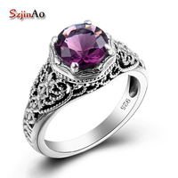 Szjinao Fashion Purple Silver Jewelry Amethyst Rings for Women USA Female Rings Vintage 925 Sterling Silver Jewelry