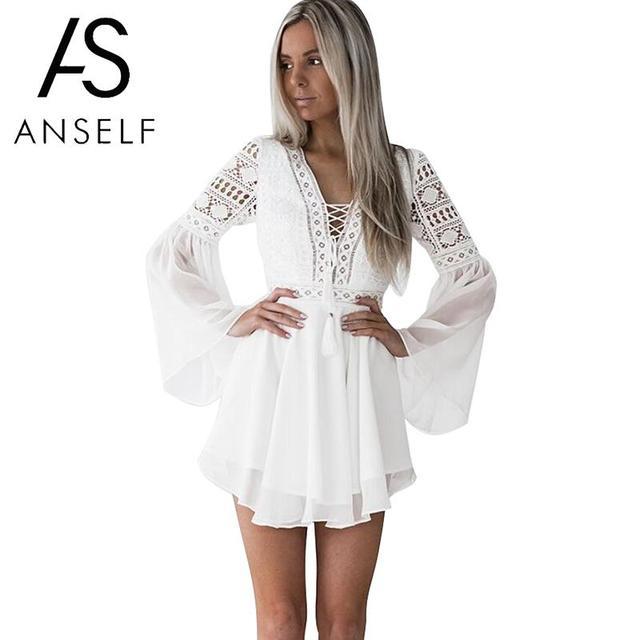Contemporary Light White Dress Sexy Chiffon Dress Semi-sheer Plunge V-Neck Long Sleeve Crochet Lace Dress.