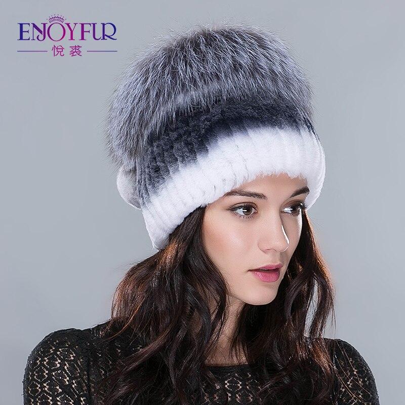 ENJOYFUR hiver rex fourrure de lapin chapeaux pour les femmes bonnets haut tricoté avec de la fourrure de renard nouvelle marque décontracté bonne qualité casquettes - 4