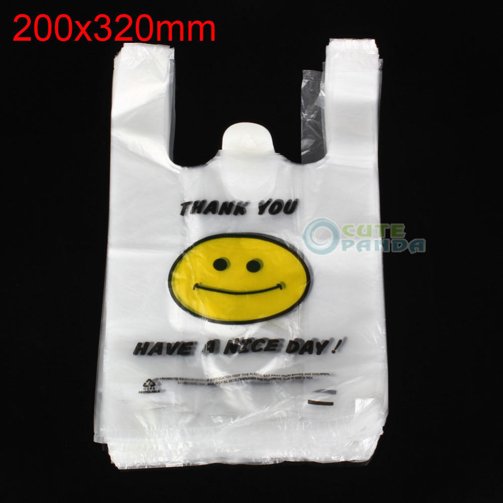 100pcs Singlet Plastic Carry Shopping Bags 20 x 30cm Smiley Smiling Smile face