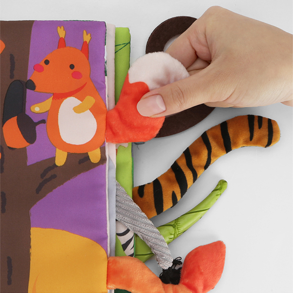 Image 4 - Beiens Infant 3 Style Baby Cloth Books Early Learning Educational Toys with Animals Tails Soft Cloth Development Books Rattles
