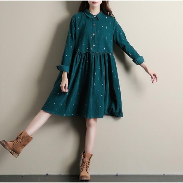 Зимние Платья Зеленого Цвета С Длинным Рукавом Случайные Свободные Плюс Размер платья Turn Down Воротник Вельвет Хлопок Платье Line Лолита платье