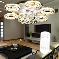 Ship From EU 80W LED Remote Control Dimming Crystal Ceiling Lights 6 Arms Pendant Lamp