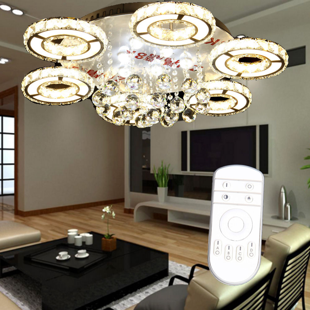 (Ship from EU)! 80W LED Remote Control Dimming Crystal 6 Arms Pendant Lamp Chandelier ship from eu 2017 fast flue type 100