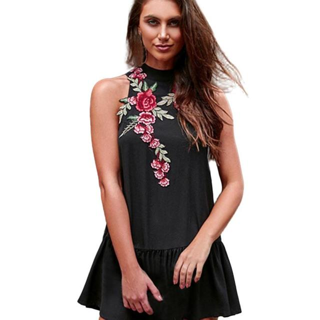 1f72868f5e64f Beautiful Smooth Amazing Women Sleeveless Embroidered Floral Evening Party  Short Mini Dress Item specifics Women s Dress 2018