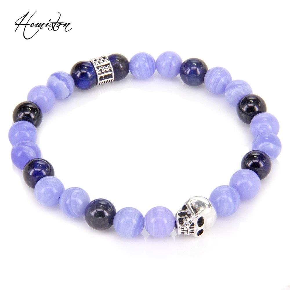 Thomas Blue Tiger's Stone,  Skull Bead ans Hieroglyphic Ornamentation Bracelet, Jewelry Gift for Women and Men TS 499
