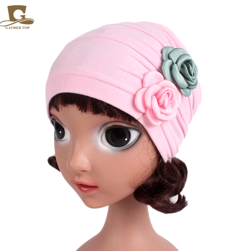 NEW Baby   Beanie   double flower Girls Soft Hat Children Winter Warm Kids skull Cap