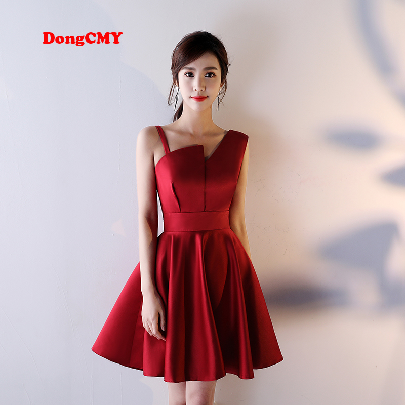 DongCMY 2019 New Arrival Sexy Short One shoulder Wine Women party Cocktail dress